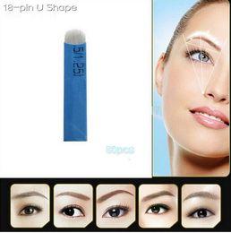 50 PCS 18 Pin U forme aiguilles de tatouage Permanent Maquillage Lame de broderie de sourcils pour 3D Microblading Pen manuel de tatouage