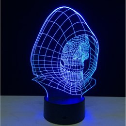 Discount design control panel Skull designs 3D stereoscopic illusion LED night Lights Acrylic Panel 7 Colors change creative gift led light bulbs + remote control