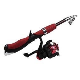 Wholesale 140M Mini Portable télescopique carbone canne à pêche avec Spinning Reel ultra légers Voyage Sea Rock Moulinet Spinning Canne à pêche