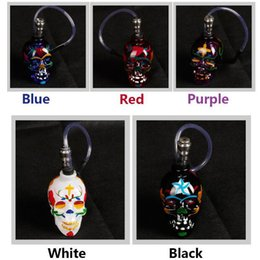 online shopping Colored Skull Pipes Glass Hookahs Bong Zinc Alloy Glass With Leather Hose Portable Mini Pipes Smoking Accessories VS Lipstick Smoking Pipe