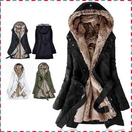 Wholesale Gros épais Faux Capuches de fourrure de la fourrure doublure femmes hiver chaud longue fourrure à l intérieur des vêtements de coton manteau veste parkas AA1607 thermique