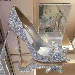 Wholesale Silver Cinderella Crystals Rhinestone Wedding Shoes Pointed Pumps cm High Heel Bridal Bridesmaid Party Prom Women Shoes
