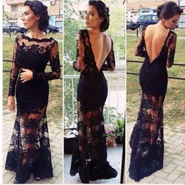Wholesale Vintage Lace Black Prom Dress with Long Sleeve Sheer Back Sexy Maxi Dress Long Mother of Bride Dress