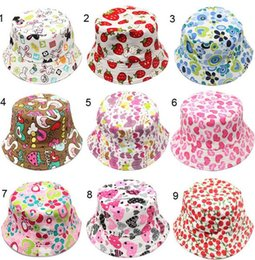 Wholesale Baby printed flower hat girls cap infant sun hat Colorful Baby Bucket hats canvas children beanie Sunbonnet styles