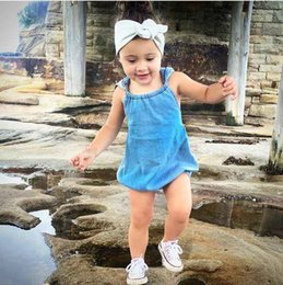Wholesale Baby Clothes INS Summer Baby Girls Boys Cool Denim Blue Romper Toddler Fashion Jumpsuits Sunsuits with Hat Baby Bodysuits Kids Clothing