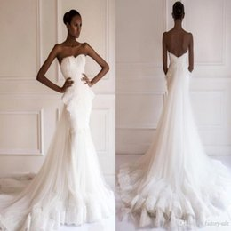 2017 african dresses 2016 Aso Ebi African Traditional Mermaid Wedding Dresses Sweetheart Beaded Lace Appliques Big Ruffles with Long Detachable Train BO9066 cheap african dresses
