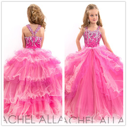 Wholesale Vestido de Daminha Branco Pink Pageant Ball Gowns for Girls Sweetheart Crystal Ball Gown Little Girl Pageant Dresses Floor Length Party Gown
