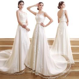 Wholesale SQS06 Vintae Sheer cuello de la joya vestidos de boda de la envoltura completa de la cintura del cordón con la correa moldeada del tren del barrido del vestido nupcial de la alta calidad