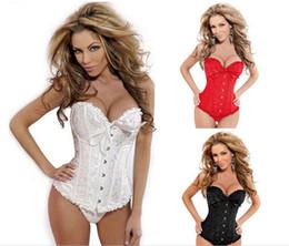 De la ropa interior de encaje satinado de alta calidad de las mujeres Negro Blanco Rojo Conjunto 6XL que adelgaza la talladora del cuerpo de Overbust de la cremallera del corsé y más pechugón de la cintura Trainer