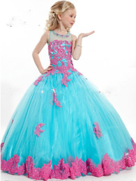 Wholesale 2016 New Arrival Little Girl Ball Gown Scoop Appliqued Glitz Pageant Flower Girls Dresses Long For Children Prom Gown