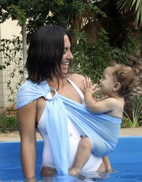 Wholesale poliéster Kiskise Pretty Baby rápida Seque las telas de malla transpirable bebé portador de la honda del agua del bebé infantil de ducha de la piscina abrigo de la playa del portador de agua