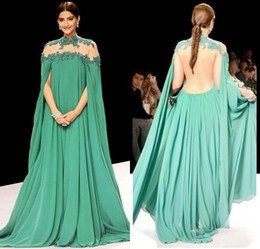 Wholesale 2016 Evening Dresses Gorgeous Green Sonam Kapoor Full Sleeves Indian High Neck Sheer Back Sexy Vestido De Festa Arabic Prom Party Gowns