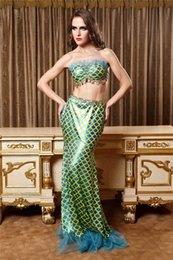 Wholesale Tamaño atractivo adulto de lentejuelas Vestido palabra de honor del traje de Halloween de la sirena del océano sirena princesa Cosplay