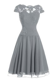 Wholesale Modest Bridesmaid Gown Gray Chiffon Lace Capped Sleeves Dress For Brides Maid Handmade Flower Corset Bow Real Short Evening Party Dresses