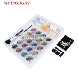 Wholesale Glitter Tattoo Kit Powder Brushes Glue Stencils for Temporary Tattoo body painting Kit