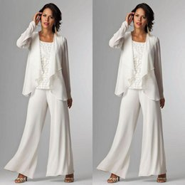 Wholesale White Elegant Mother Of Bride Pant Suit For Wedding Three Pieces Lace Formal Pants Suits Cheap Long Mothers Groom Dresses With Jacket
