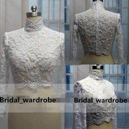 Wholesale Hot Sale Lace Bridal Wedding Jacket Coat High Neck Applique Beads Long Sleeves Bridal Wrap Bolero Custom Made Cheap High Quality Accessories