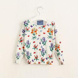 Wholesale New Kids Girls Floral Knitted Sweater Cardigans Beige Color Cute Baby Kids Fall Winter Jackets Tops