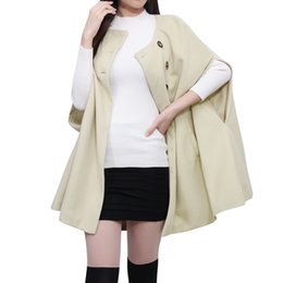 Wholesale Women s Cape Poncho Chuvivi Fashion Apparel Ladies Round Neck Slit Sleeves Worsted Outerwear Coats Cardigan