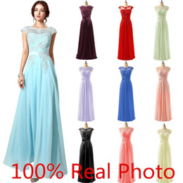 Wholesale 2016 New Arrival In Stock Special Occasion Dresses Lace Chiffon Beaded Sheer Neck Cap Sleeve Prom Party Pageant Dresses Cheap Gown TM1608001