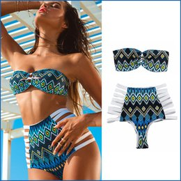 Wholesale Swimsuit Strapless The Classic High Waist Bikinis Women Fashion Sexy Swimwear Swimsuits Beach Party Bathing Suit