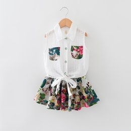 Wholesale 2016 New Kids Gierls Floral Bow Embroidered Suit Square collar Embroidered Blouse With Pockets High Waisted Skirt