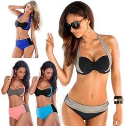 Wholesale 2016 Newest Sexy Bikinis Women Swimsuit High Waisted Bathing Suits Swim Halter Top Push Up Bikini Set Plus Size Swimwear