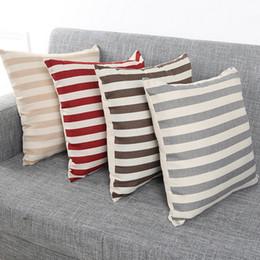 Vintage Styles Decorative Pillowcase Stripe Cushion Cover Decor Fashion Cotton Linen Square Pillow Case Decorative Throw 2017 Home Textiles