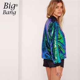 Wholesale Atacado Mermaid Sequin Bomber Jacket Green Gradient Color Paillette Casacos Mulheres Zipper Sequined Outwear Coats Outono M16110106