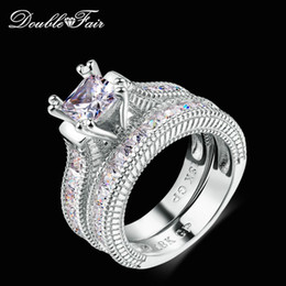 double fair unique square cut cubic zirconia rings sets silver color fashion engagement wedding jewelry gift for women rx29yg q0515 square cut wedding rings - Square Cut Wedding Rings