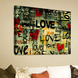 graffiti love word landscape canvas painting home decor canvas wall art picture digital art print for living room