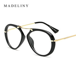 wholesale new classic women oval eyewear frame 2017 vintage clear lens glasses personality large frame goggles brand design ma258