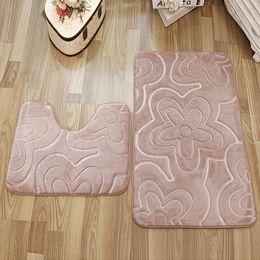 Wholesale 2PCS Flower Design Bathroom Rug Set Memory Foam Bath Rug Mat  Badmat Floor Carpet Set Hot Sale Bath Mat Tapis De Bain