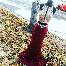 Amazing Burgundy Round Neck Two Pieces Long Prom Dress 2017 Mermaid Backless Beading Crystal Velvet Prom Dresses Evening Wear