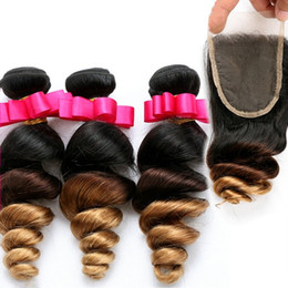 2017 ombre brazilian loose wave closure 9A 1B 4 27 Honey Blonde Ombre Human Hair 3Bundles With Swiss Lace Closure Loose Wave Three Tone Ombre Hair Extensions With Closure cheap ombre brazilian loose wave closure