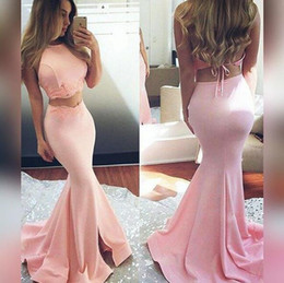 Discount purple two piece Blush Pink Hot Two Pieces Prom Dresses 2017 Mermaid Halter Neck Open Back Long Train Party Evening Gowns