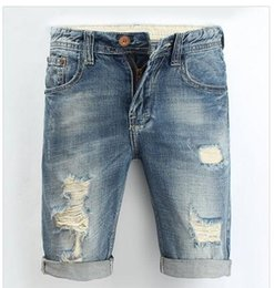 Wholesale Summer Casual Men Jeans Shorts Hole Haute Qualité Fashion Knee Length Ripped Jean For Men Brand Pantalons Shorts