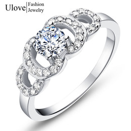 white gold plated ring austrian crystal big engagement rings for women wedding trendy bridal jewelry j597 - Big Wedding Rings