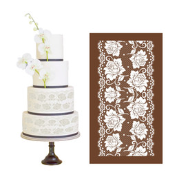 New Design Rose Mesh Stencils For Fondant Wedding Cake Lace Moulds Baking Tools Sugarcraft Decorating Template Fabric 53