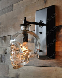Discount led light glasses nimi602 Loft Personality Industrial Iron+Glass Retro Bar Outdoor Wall Lamp Skull Wall Sconce Lights Hotel KTV Bedroom Living Room Lighting