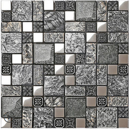 Rustic gray resin mix metal&glass tiles design,stainless steel kitchen  backsplash wall tiles,Vintage metal mosaic building materials, LSRN08
