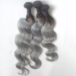 Discount ombre two tone color virgin hair T1b Grey Dark Root Two Tone Human Hair Extensions Weft Remy Hair Weaves 8A Ombre Indian Virgin Hair Body Wave 3 4 Bundles