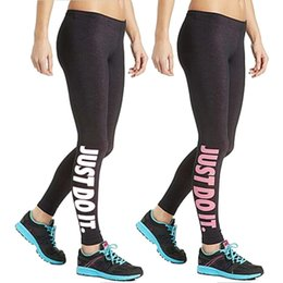 "Women Sport Sex Yoga Leggings "" Just Do It "" Leggins Elastic Tight fitting Pants Slim Fitness Pencil Fashion Trousers LWDK12 WR"