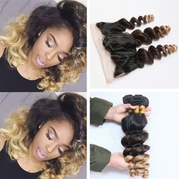 Discount ombre brazilian loose wave closure #1B 4 27 Honey Blonde Lace Frontal Closure With Bundles Loose Wave Ombre Brazilian Virgin Human Hair Weaves With Lace Frontal