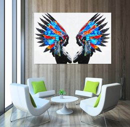2017 native american decor blue feather portrait painting native american indians oil painting home decor wall - Native American Decor