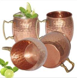 Martillado Moscú mula copas placa de cobre de acero inoxidable manija de latón martillado Moscú Mula taza con mango de latón sólido 50pcs OOA1071