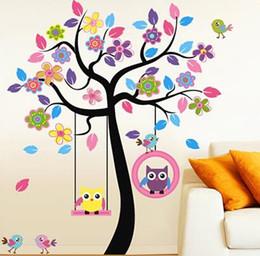 Big Sale Removable Wall Color Owl Swing Kindergarten Classroom Of Children Room Bedroom Decoration Stickers Boy