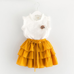 Wholesale Everweekend Girls Summer Lace Tee y Ruffles Cake Faldas Sets Outfits Niños Dulces Cute Ropa