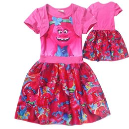 online shopping Trolls clothes Cartoon Trolls baby girls dresses short sleeve children poppy skirts best price with top quality