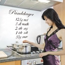 Wholesale 1 Pcs Diy Removable Kitchen Decor Pandekager Decal Vinyl Wall Sticker Art Decal Quote Home